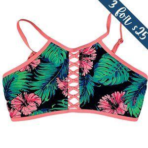 3/$25 Apollo Swim Tropical Floral Palm Bikini Top
